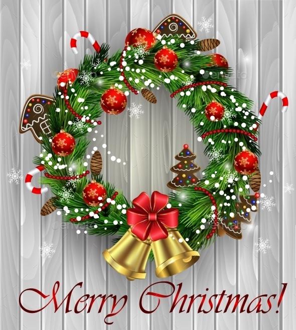 White Card With Christmas Wreath And Bow - Christmas Seasons/Holidays