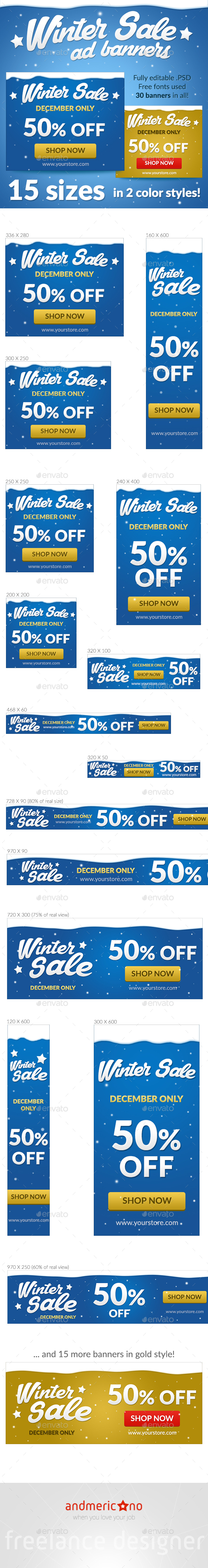 Winter Sale Banners - Banners & Ads Web Elements