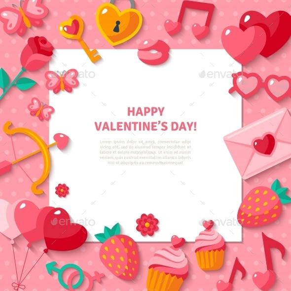 Valentine's Day Background. Flat Valentine Icons  - Valentines Seasons/Holidays