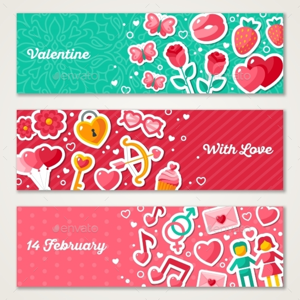 Valentines Horizontal Banners Set  - Valentines Seasons/Holidays