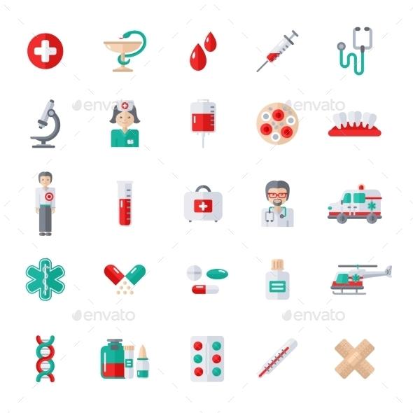 Set Of Flat Medical Icons - Health/Medicine Conceptual