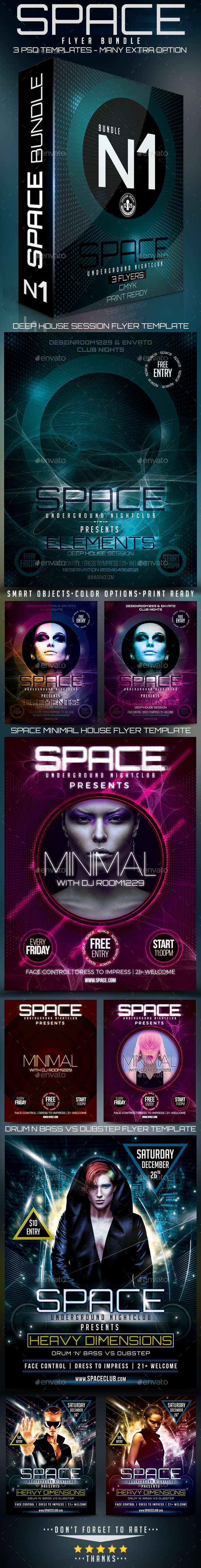 Flyer Bundle Space Club Vol.1 - Clubs & Parties Events