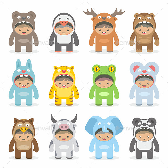 Christmas Costumes Kids - Vectors