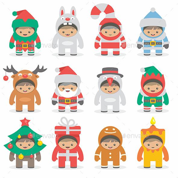 Christmas Costumes Kids - Vectors