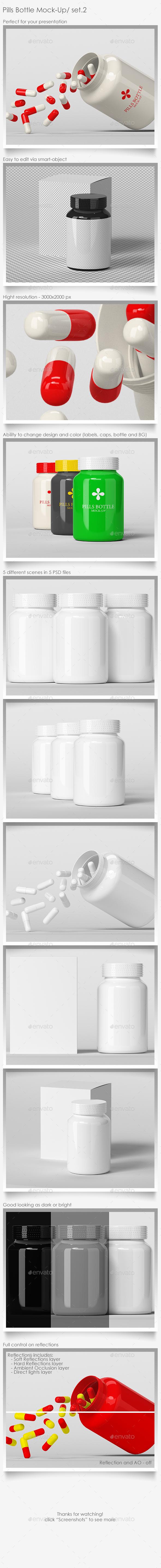 Pills Bottle Mock-Up Set.2 - Packaging Product Mock-Ups