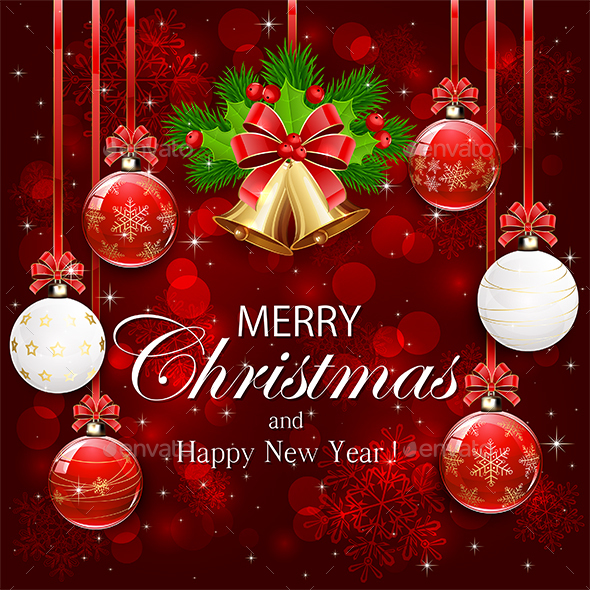Red Background with Christmas Decorations - Christmas Seasons/Holidays