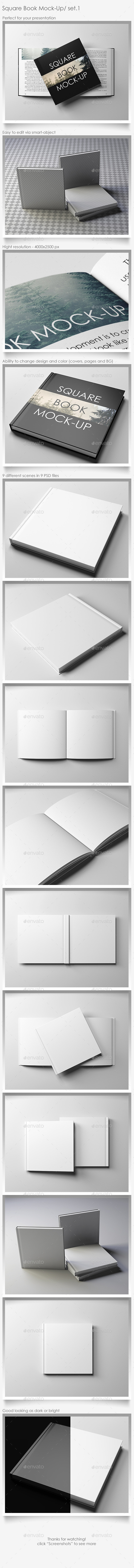 Square Book Mock-Up Set.1