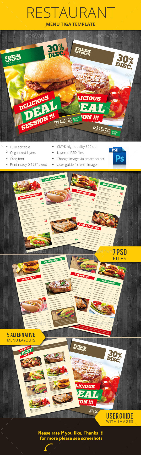 Restaurant Menu Tiga - Food Menus Print Templates