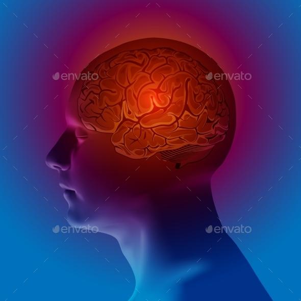 Abstract Human Head With a Brain. Vector - Health/Medicine Conceptual