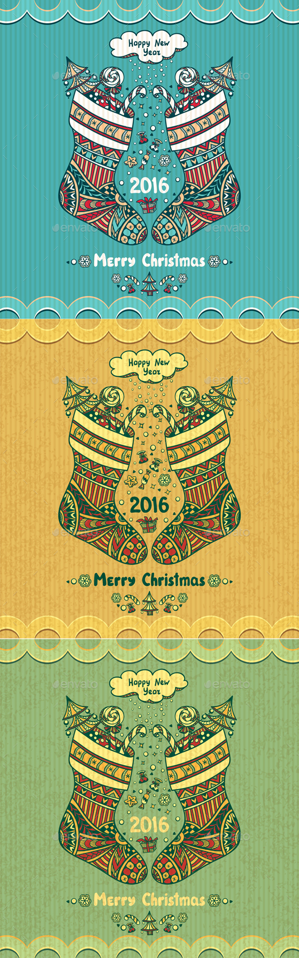Christmas Stocks with gift  in Zen-doodle style  - Seasons/Holidays Conceptual