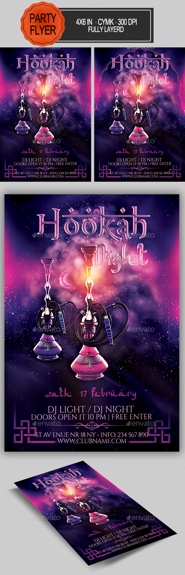Hookah Flyer - Clubs & Parties Events