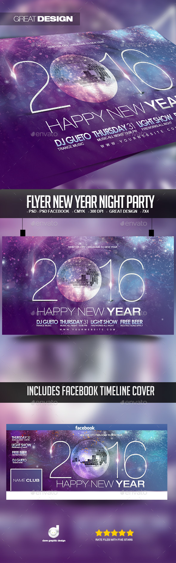 Flyer New Year Night Party - Events Flyers
