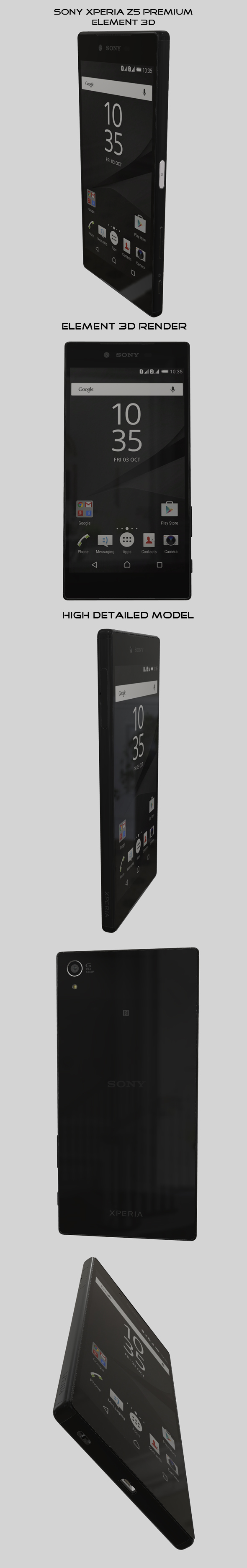 Element3D - Sony Xperia Z5 Premium Black - 3DOcean Item for Sale