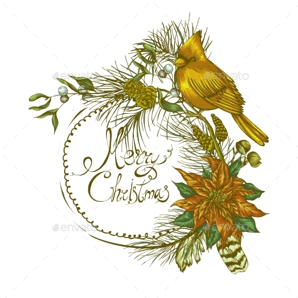 Christmas Vintage Floral Greeting Card - Patterns Decorative