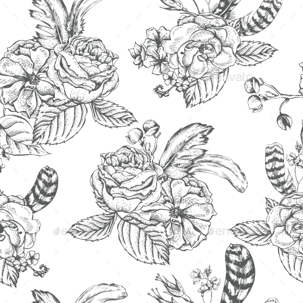 Floral Seamless Background With Roses And Feathers - Patterns Decorative