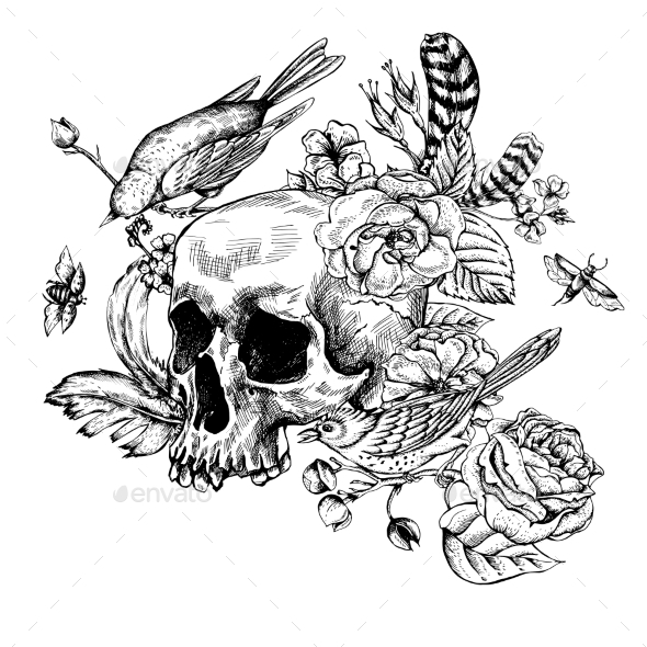 Skull With Flowers, Roses, Birds And Feathers  - Patterns Decorative