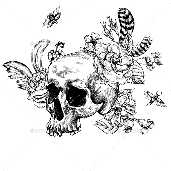 Skull, Flowers Day Of The Dead, Black And White - Patterns Decorative