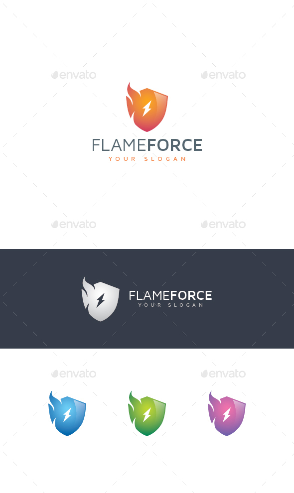 Fire Shield Logo - Vector Abstract