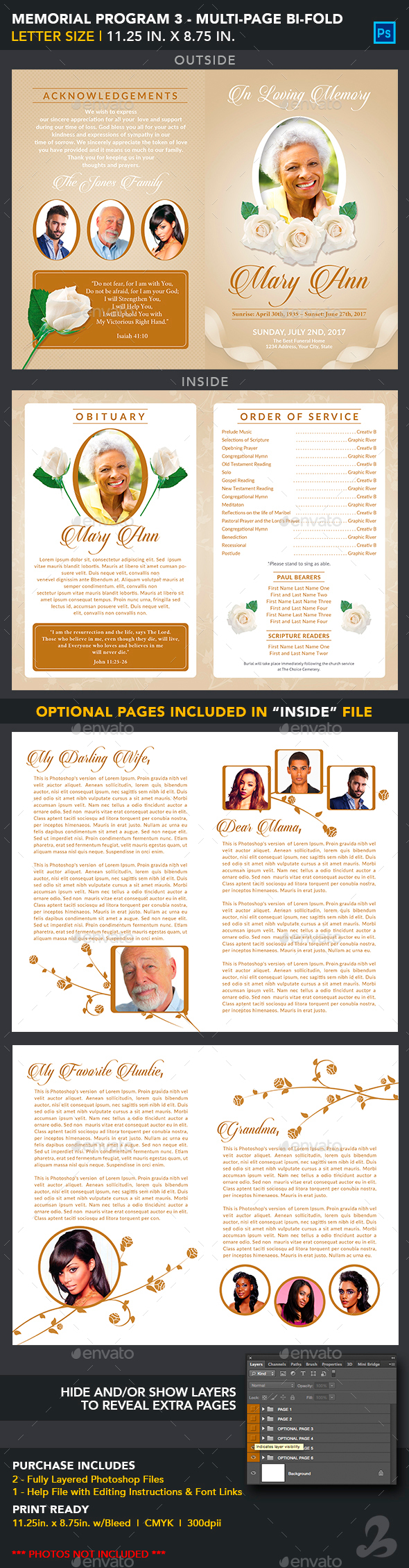 Memorial Program Template 3 - Multipage Bi-Fold - Informational Brochures