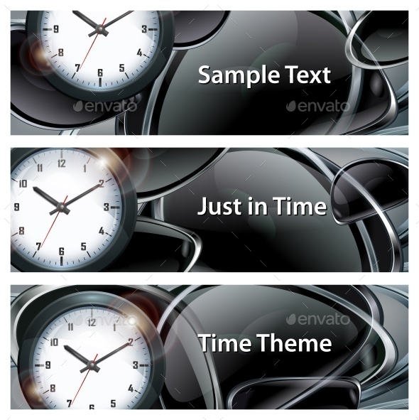 Round Clock on Black Abstract - Miscellaneous Vectors