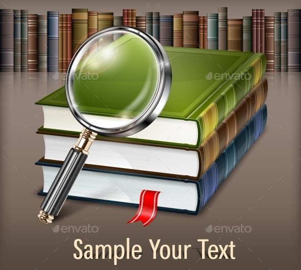Books and Magnifying Glass on Table - Miscellaneous Vectors
