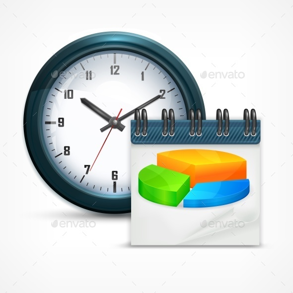 Round Clock with Chart - Concepts Business