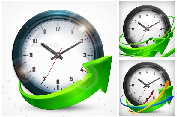 Clock with Arrows on White - Concepts Business