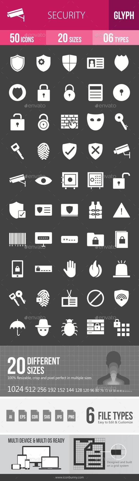 Security Glyph Inverted Icons - Icons