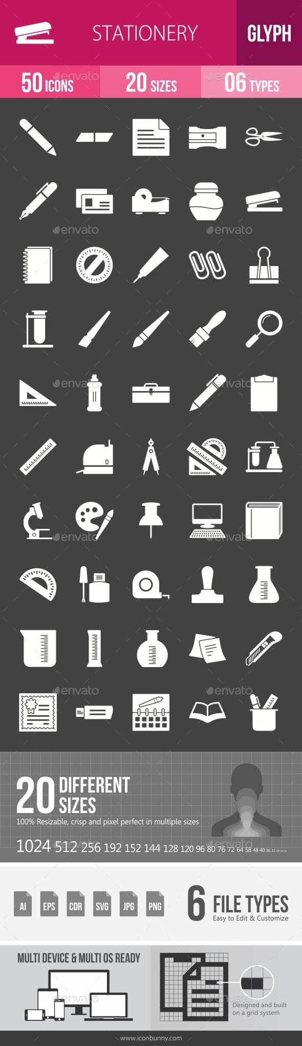 Stationery Glyph Inverted Icons - Icons