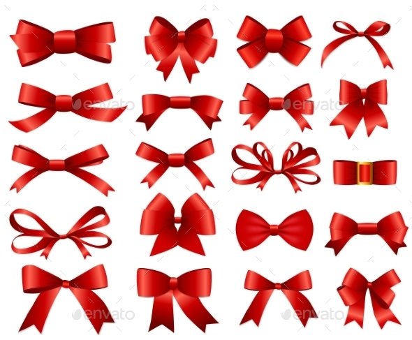 Red Ribbon and Bow Set - Man-made Objects Objects