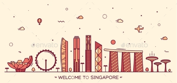 Skyline Singapore Vector Illustration Linear Style - Buildings Objects