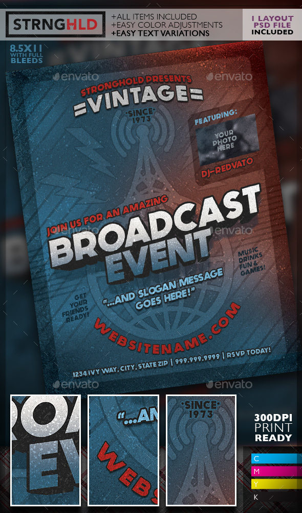 Vintage Radio Broadcast Event Flyer Template By Getstronghold