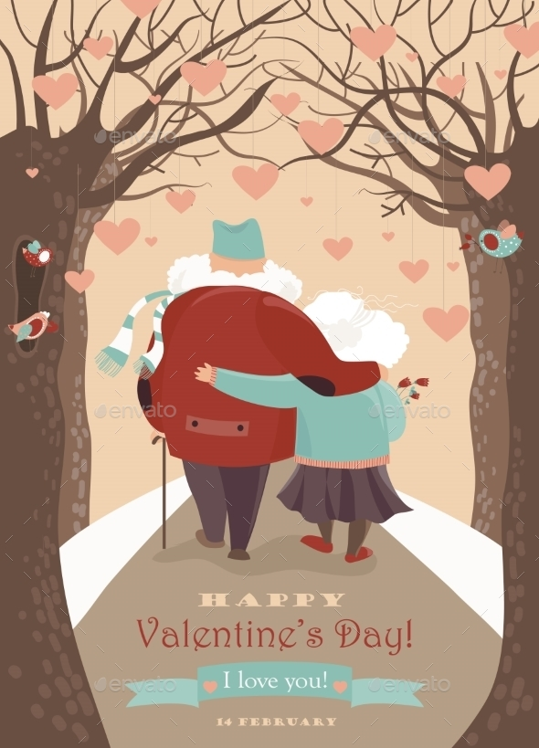 Old Couple In Love Walking - Valentines Seasons/Holidays