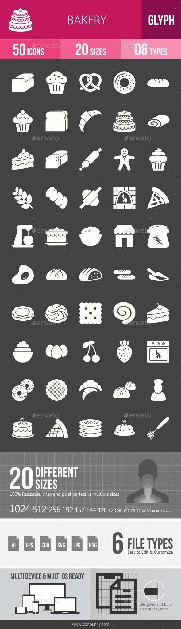 Bakery Glyph Inverted Icons - Icons