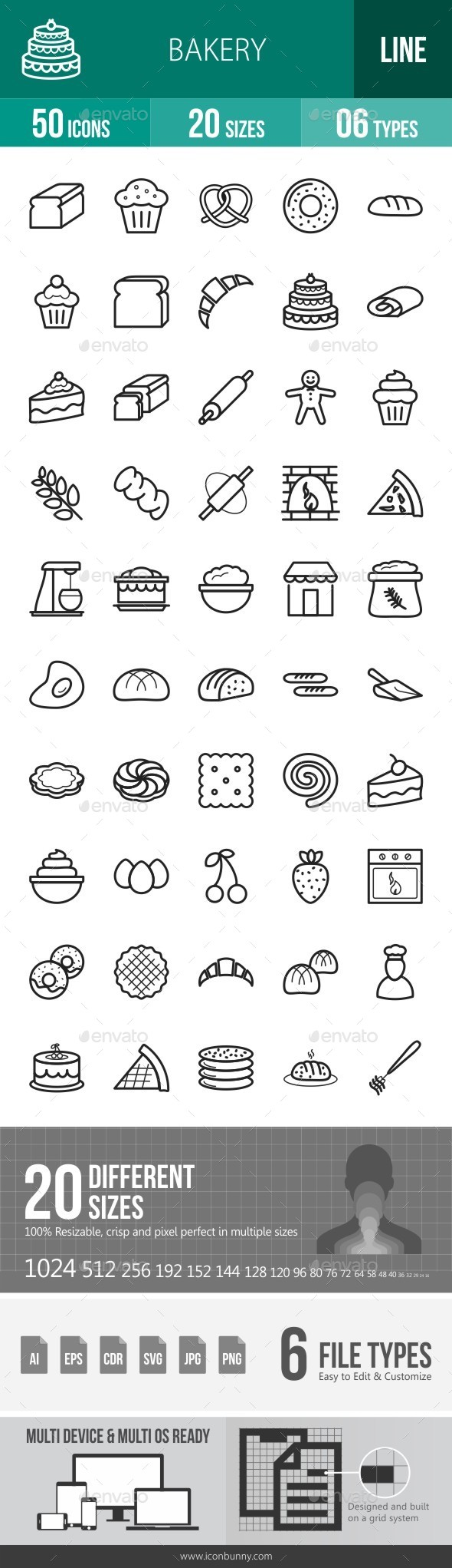 Bakery Line Icons - Icons