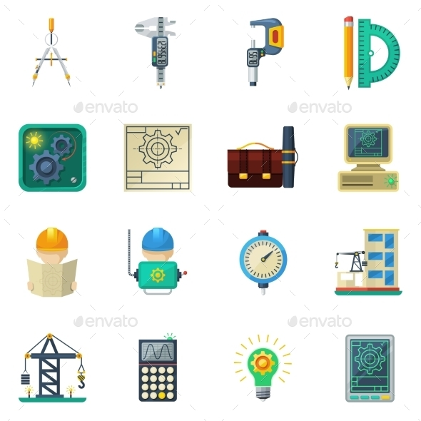 Engineer Flat Icons Set - Man-made objects Objects
