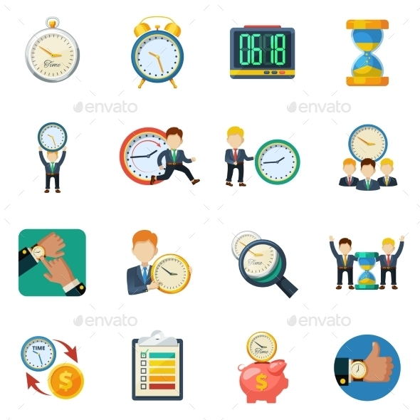 Time Managment Flat Icons Set - Business Icons