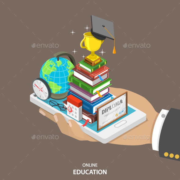 Online Education Isometric Flat Vector Concept.  - Computers Technology