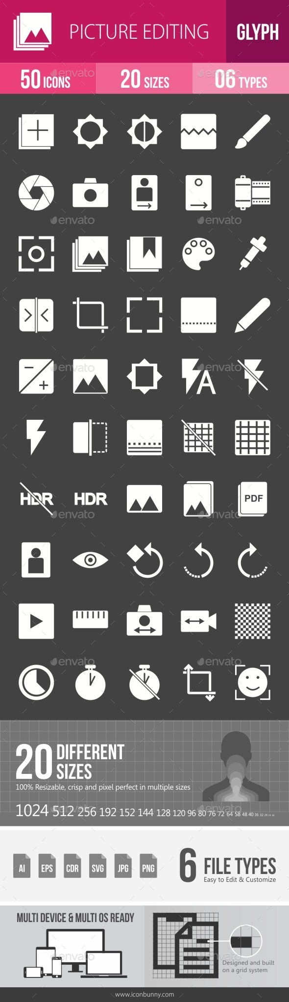 Picture Editing Glyph Inverted Icons - Icons