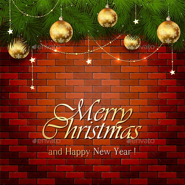 Golden Christmas Decorations on a Brick Wall - Christmas Seasons/Holidays