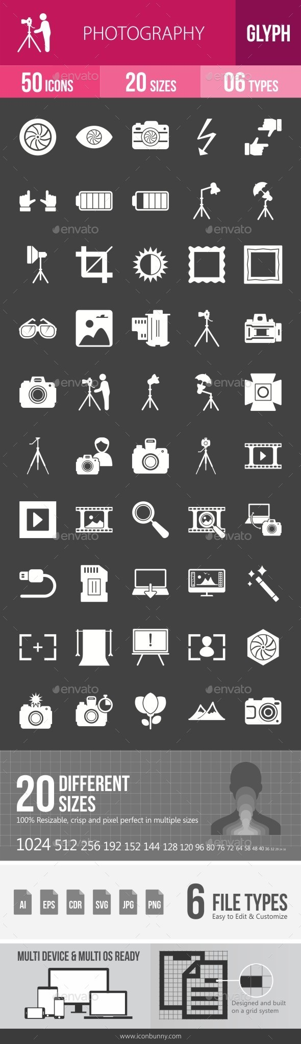 Photography Glyph Inverted Icons - Icons