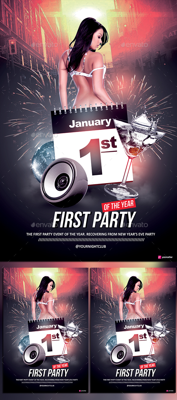 First Party of the Year - Events Flyers
