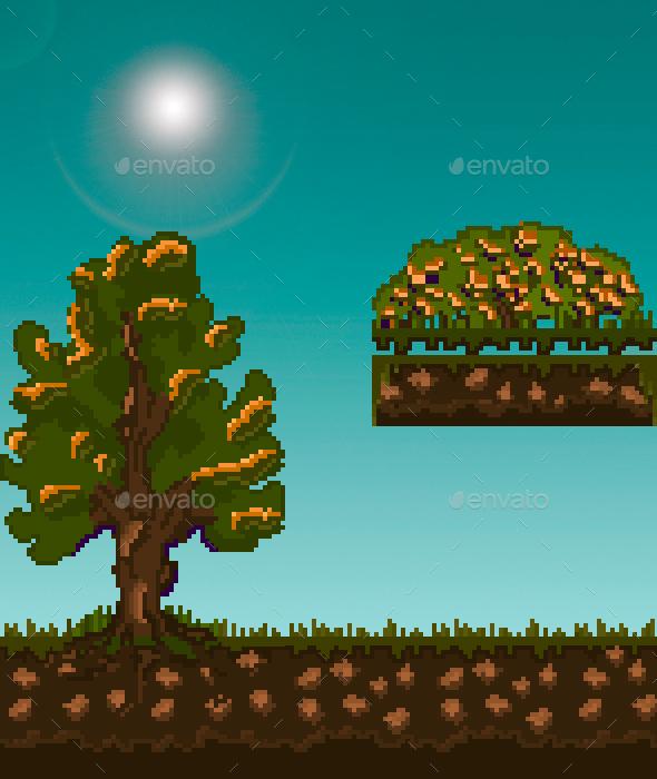 2D Sprite Pack 1 - Landscape Ground & Wather - Sprites Game Assets