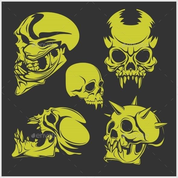 Set of Skulls - Tattoos Vectors