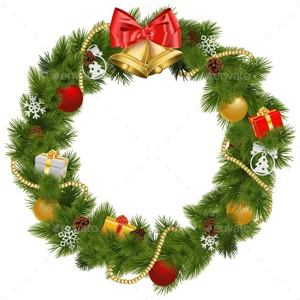 Vector Christmas Wreath with Golden Bells - Christmas Seasons/Holidays