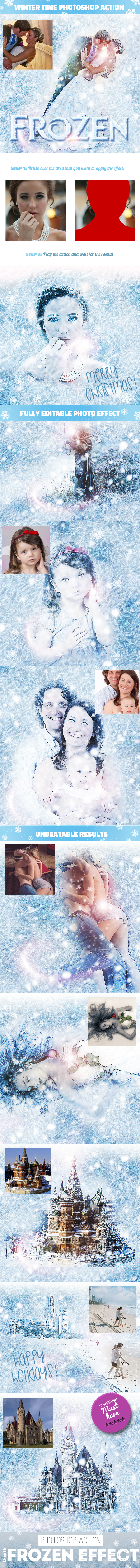 Frozen - Winter Photo Effect Photoshop Action - Photo Effects Actions