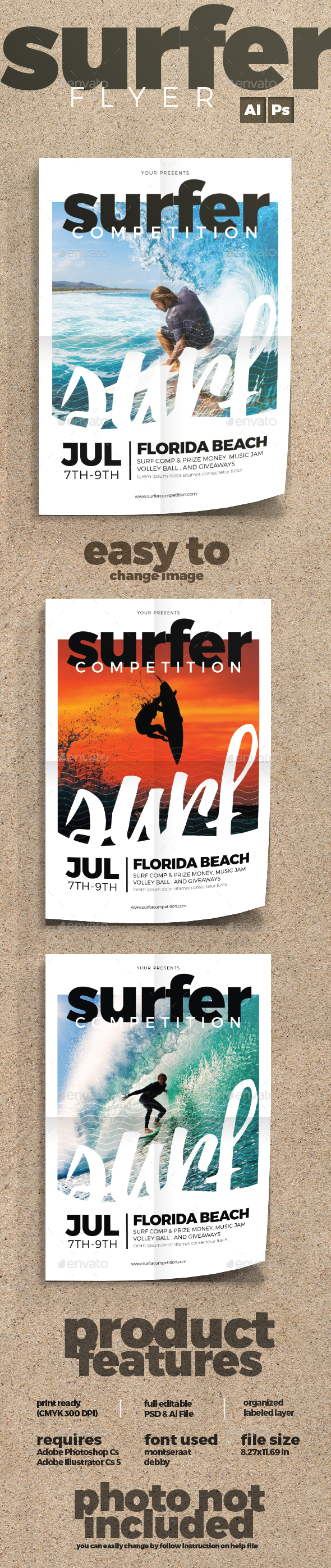 Surfing Flyer - Sports Events
