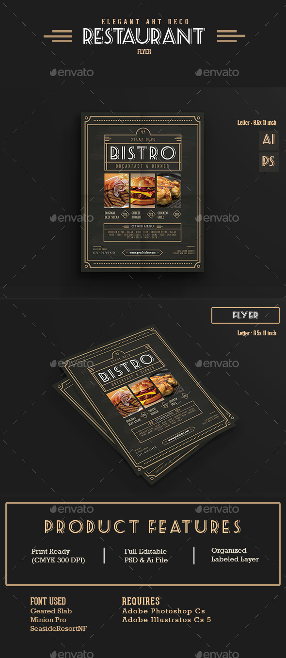 Elegant Restaurant Flyer/menu - Food Menus Print Templates