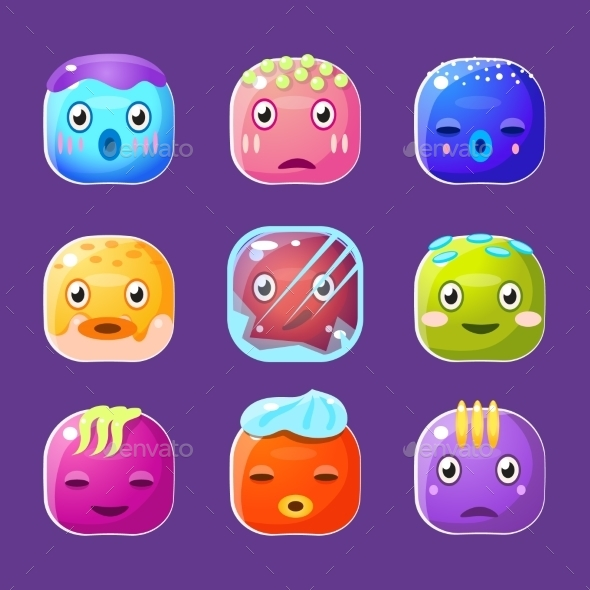 Square Faces Set - Monsters Characters