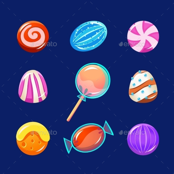Colorful Glossy Candies With Sparkles. Vector - Web Elements Vectors